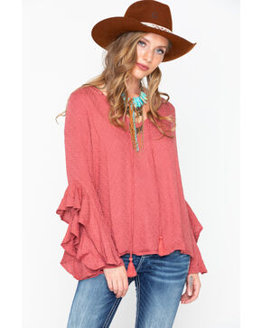 Miss Me Women's Dobby Ruffle Bell Sleeve Top , Mauve, hi-res