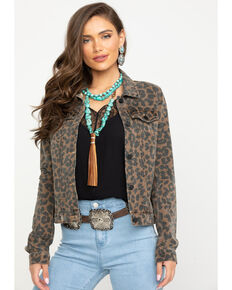 Elan Women's Leopard Print Denim Jacket, Leopard, hi-res