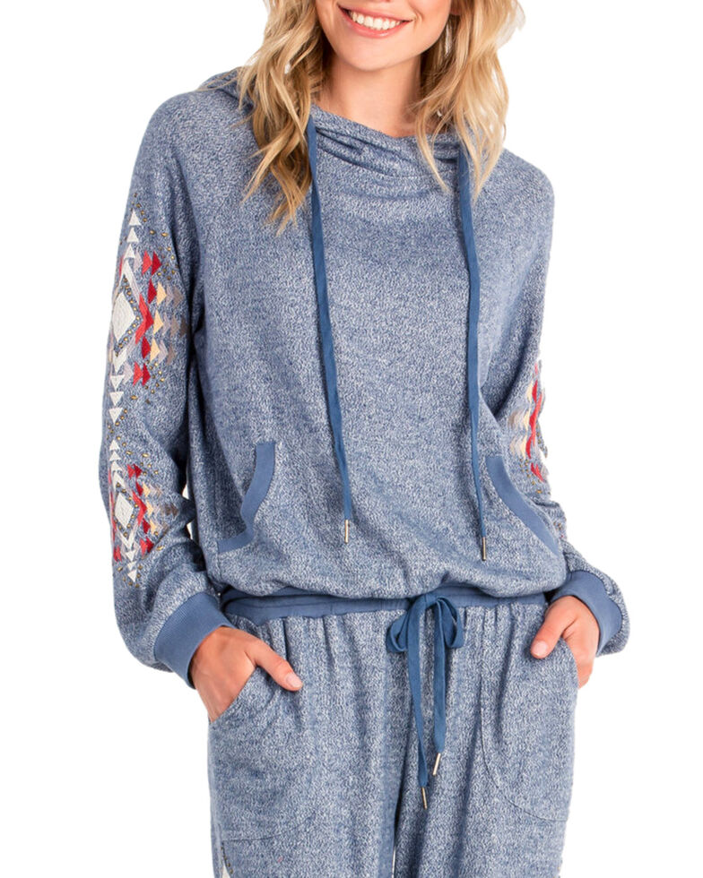 Miss Me Women's Cowl Neck Pullover Hoodie , Blue, hi-res