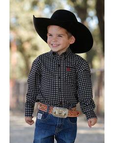 Cinch Toddler Boy's Geo Print Core Button Long Sleeve Western Shirt , Black, hi-res