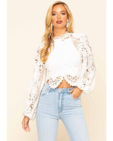 Flying Tomato Women's Crochet Lace Long Sleeve Top, Ivory, hi-res