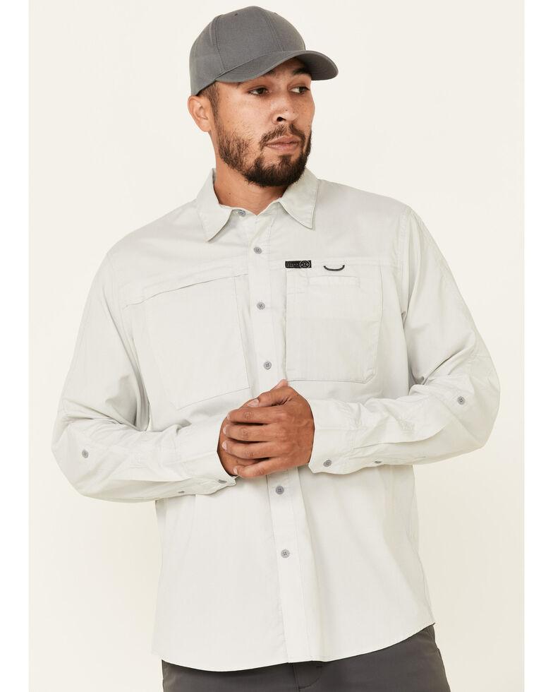 Wrangler ATG Men's All-Terrain Light Grey Hike-To-Fish Long Sleeve Button-Down Western Shirt , Light Grey, hi-res
