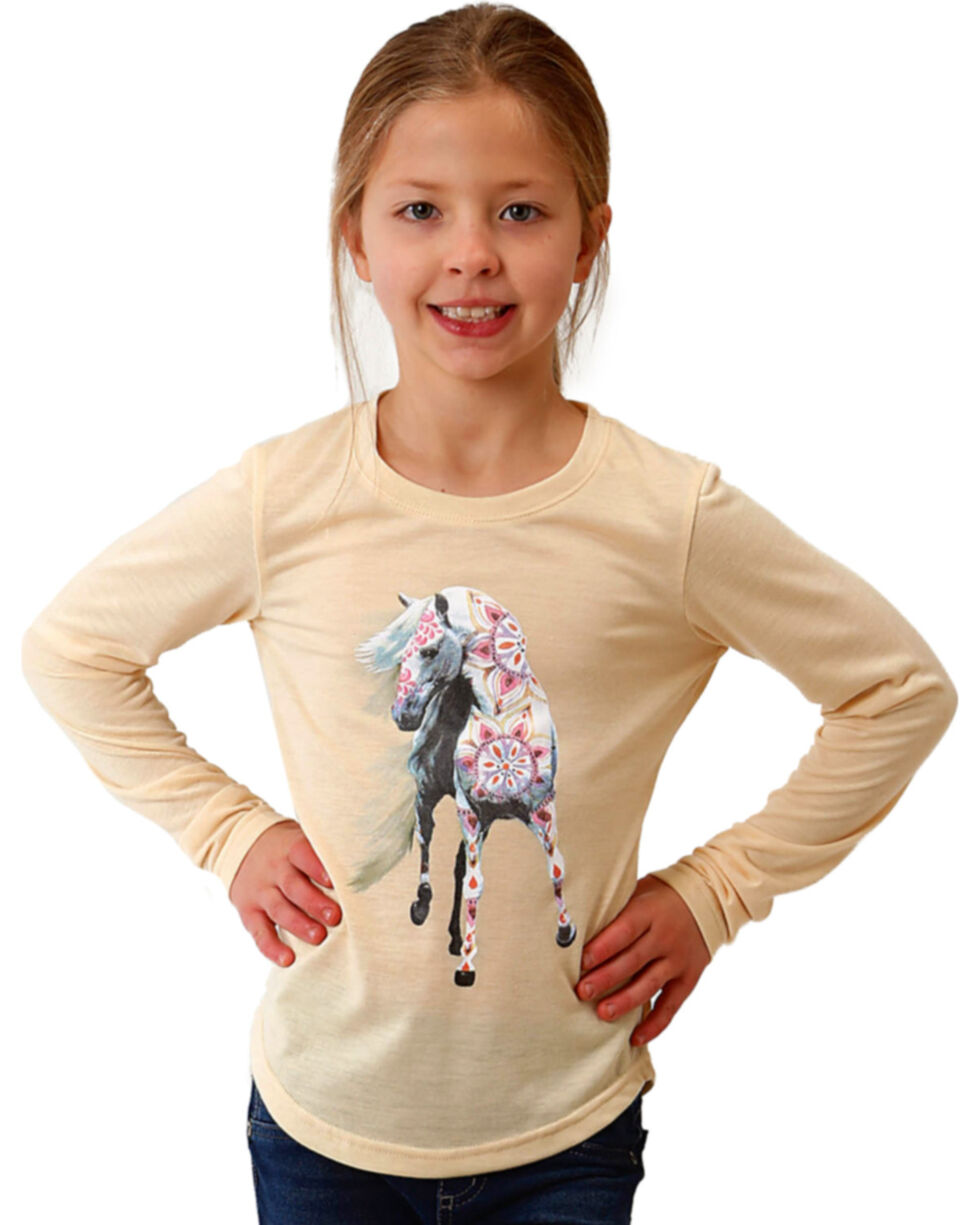 Roper Girls' Wheat Floral Horse Graphic Tee , Wheat, hi-res