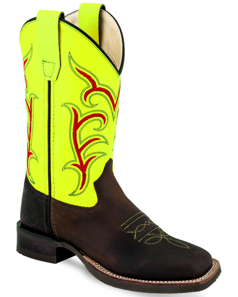 Old West Youth Boys' Embroidered Western Boots - Wide Square Toe, Multi, hi-res