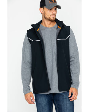 Hawx® Men's Hooded Soft-Shell Work Vest , Black, hi-res
