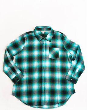 Cumberland Outfitters Women's Plaid Flannel Tunic, Green, hi-res