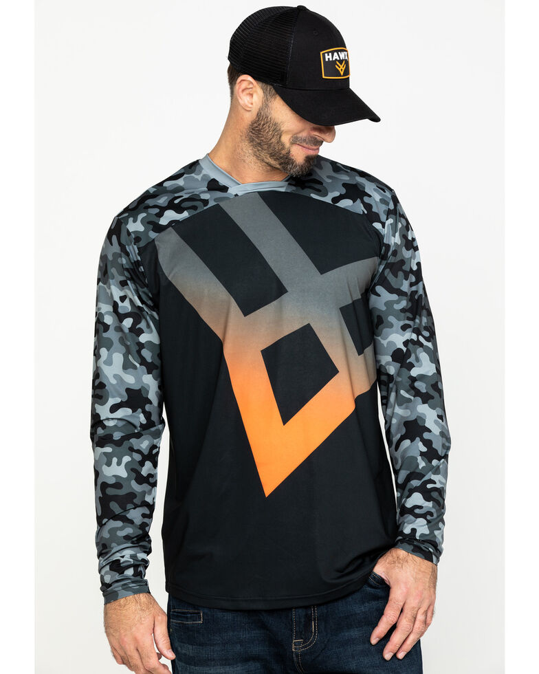 Hawx Men's Black Logo Moto Performance Long Sleeve Work T-Shirt - Tall , Black, hi-res