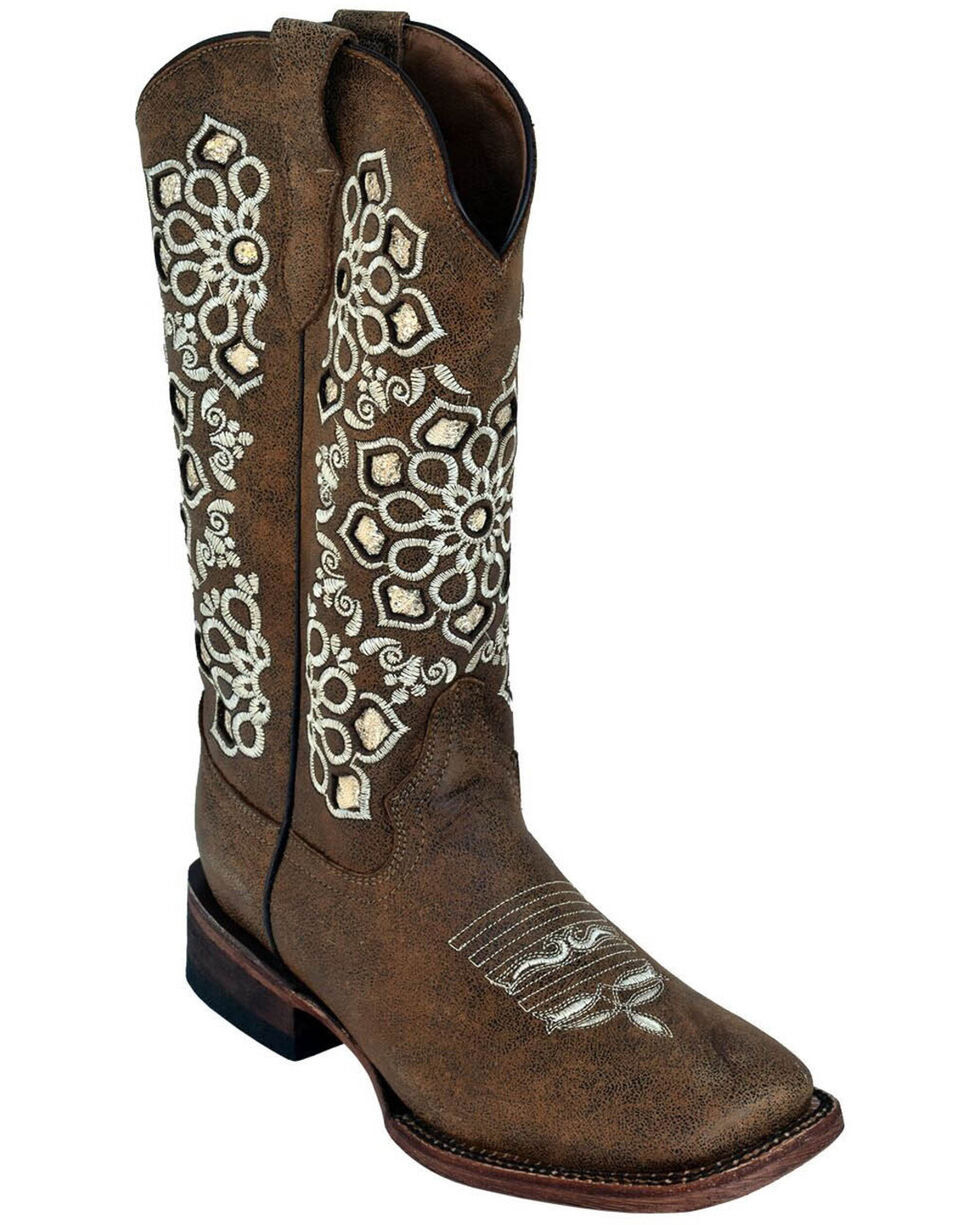 Ferrini Women's Country Glam Western Boots - Square Toe, Brown, hi-res