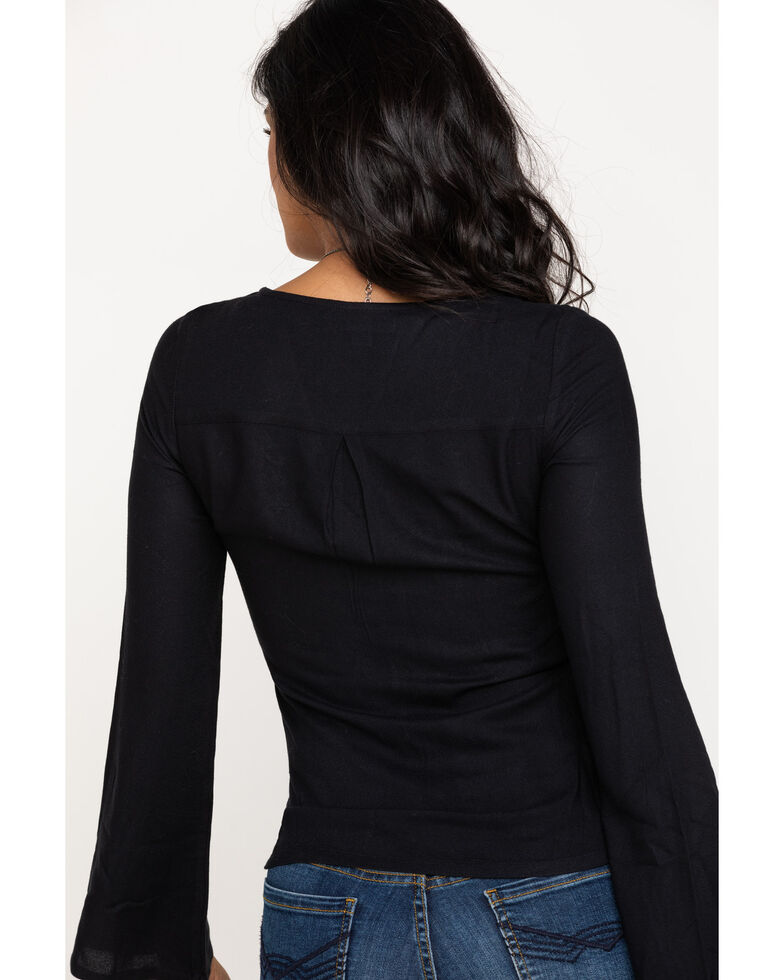 Idyllwind Women's Must Be Magic Tie Front Top, Black, hi-res