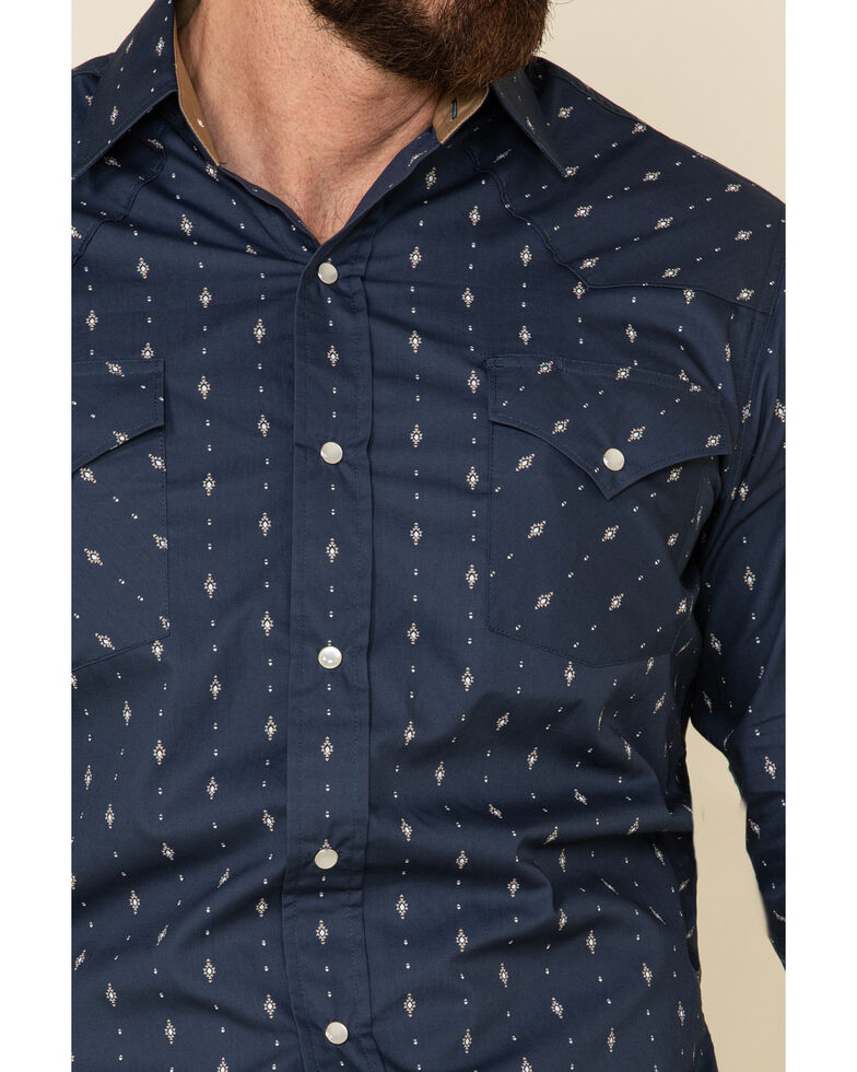 Ely Walker Men's Navy Aztec Geo Print Long Sleeve Western Shirt , Navy, hi-res