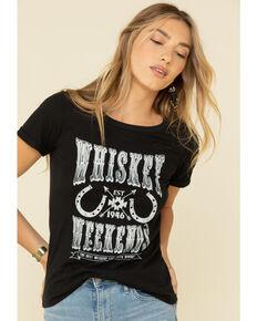 Rock & Roll Denim Women's Whiskey Weekends Tee, Black, hi-res