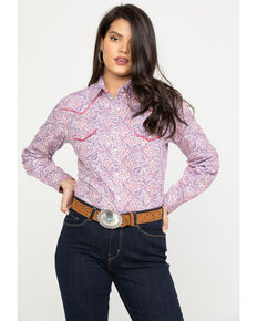 3946dbd0b13 Rough Stock by Panhandle Women s Paisley Long Sleeve Western Shirt