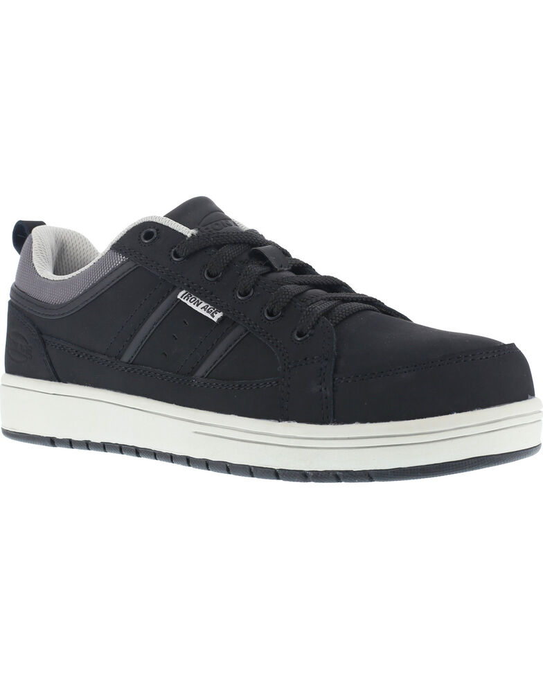 Iron Age Men's Skate Style Oxford Shoes - Steel Toe , Black, hi-res