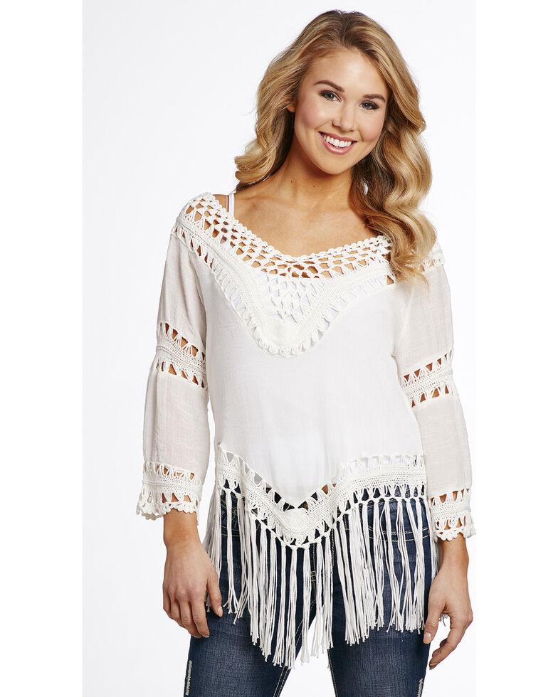 Cowgirl Up Women's Crochet Tassel Top, , hi-res