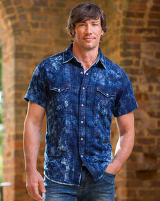 Ryan Michael Men's Midnight Distressed Plaid Short Sleeve Shirt, Indigo, hi-res