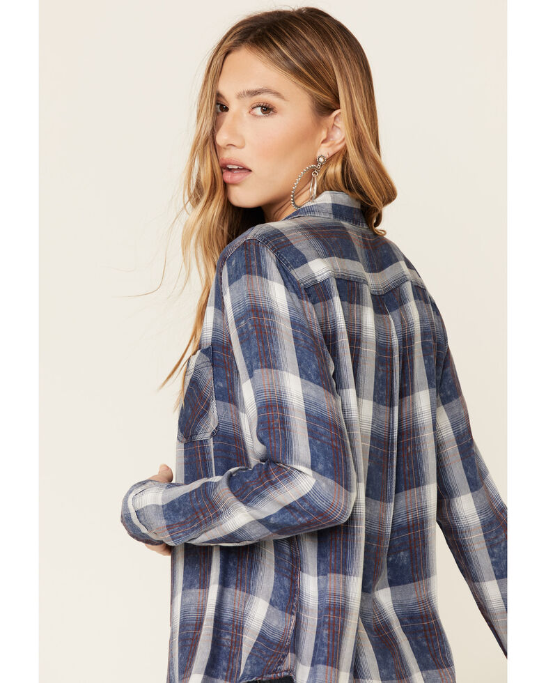 Flag & Anthem Women's Harpersfield Plaid Long Sleeve Western Shirt , Navy, hi-res