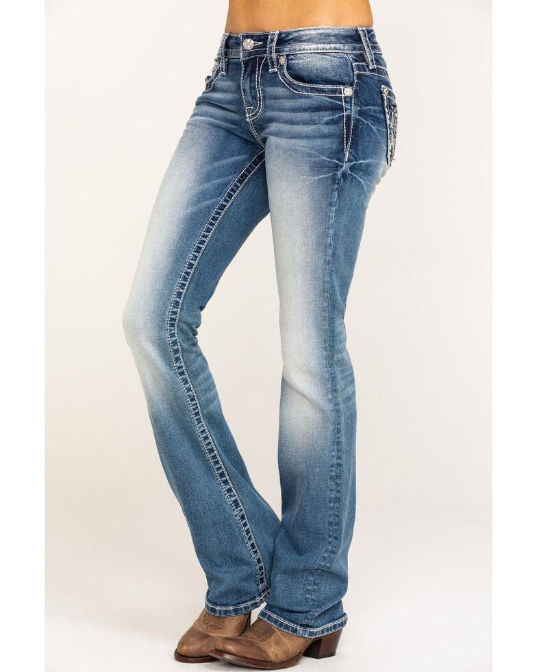 Miss Me Women's Light Wash Compass Bootcut Jeans, Blue, hi-res
