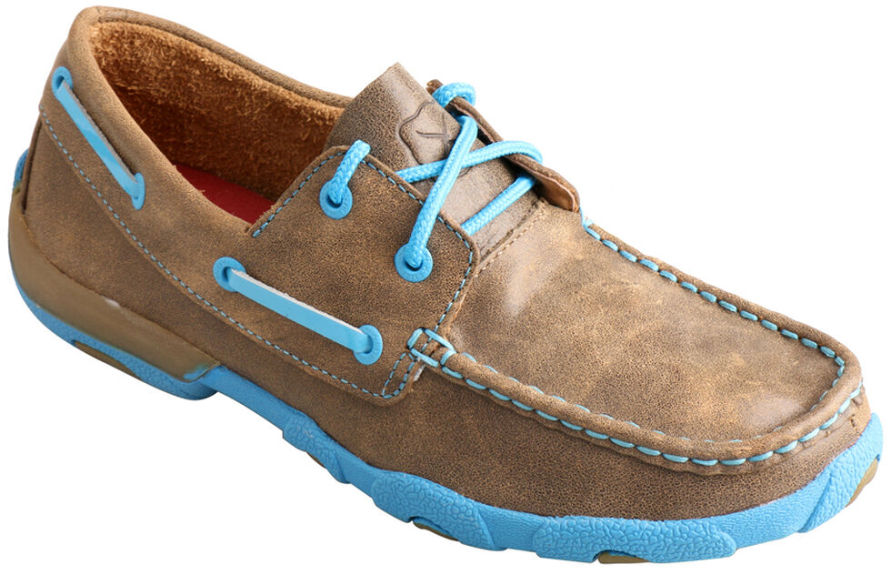 Twisted X  Women's Brown and Neon Blue Driving Mocs, Bomber, hi-res