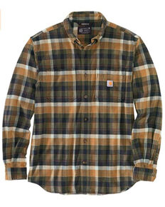 Carhartt Men's Olive Plaid Long Sleeve Button-Down Work Shirt Jacket - Tall , Olive, hi-res