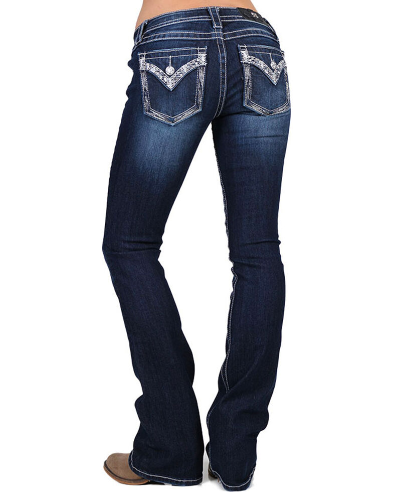 Miss Me Women's Low Rise Embellished Jeans - Boot Cut , Blue, hi-res