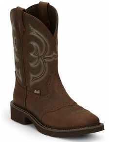 Justin Women's Inji Western Boots - Wide Square Toe, Distressed Brown, hi-res