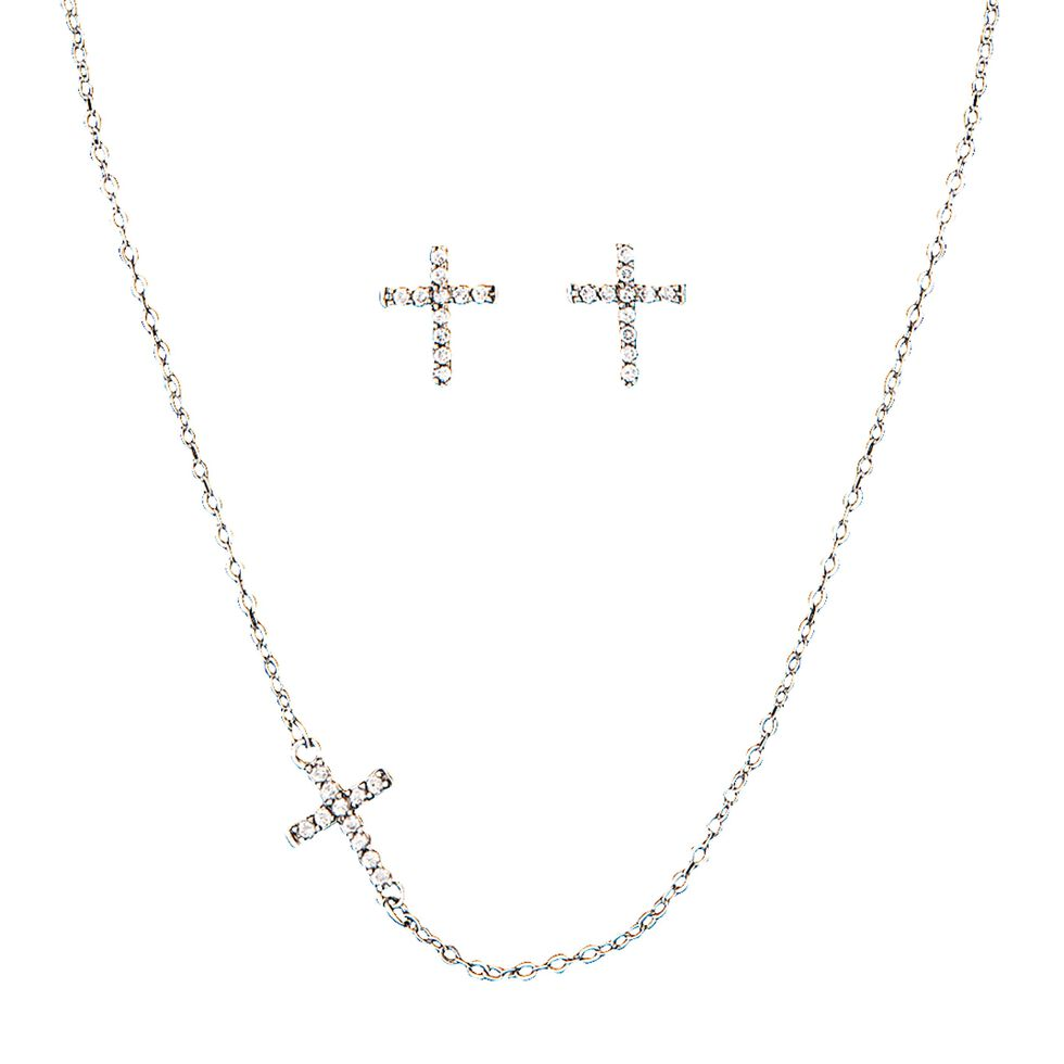 Montana Silversmiths Small Floating Cross Necklace & Earrings Set, Silver, hi-res