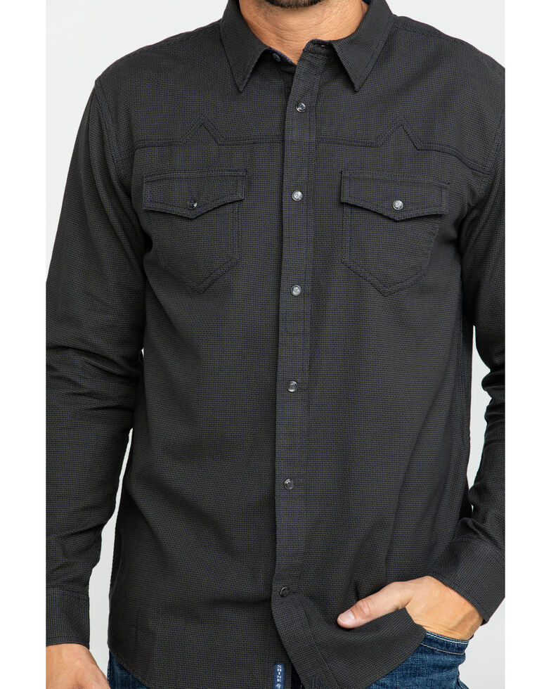 Moonshine Spirit Men's Solo Textured Solid Long Sleeve Western Shirt , Black, hi-res
