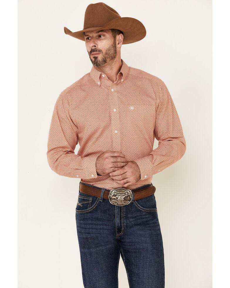 Ariat Men's Wrinkle Free Edgarton Floral Geo Print Long Sleeve Western Shirt , Orange, hi-res