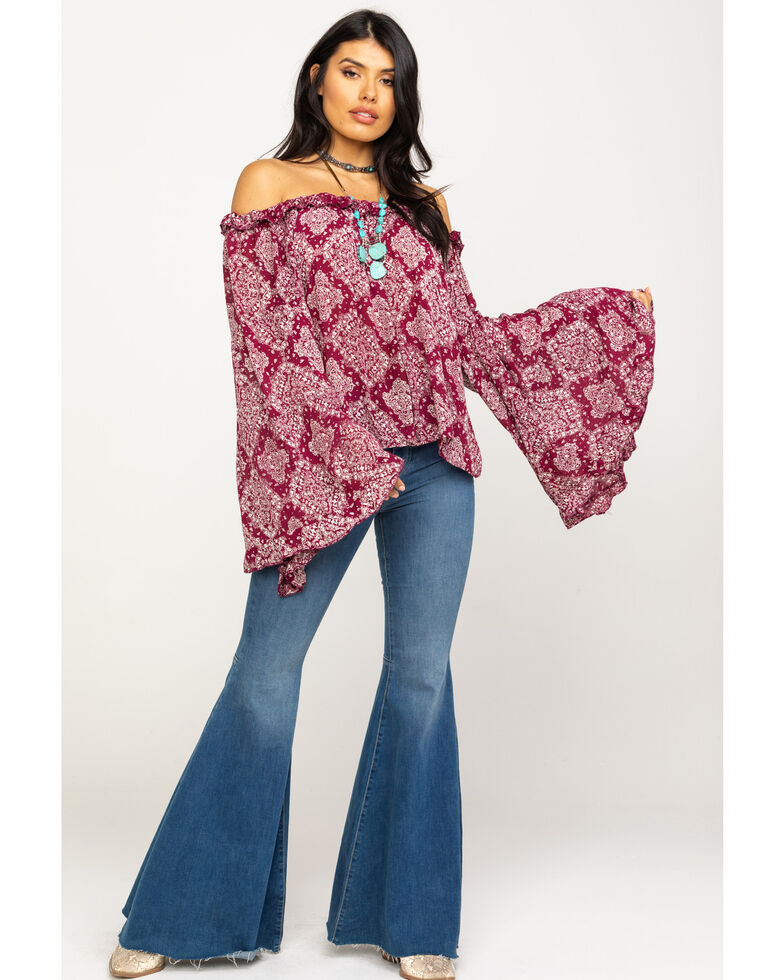 Red Label by Panhandle Women's Wine Print Off The Shoulder Top, Wine, hi-res