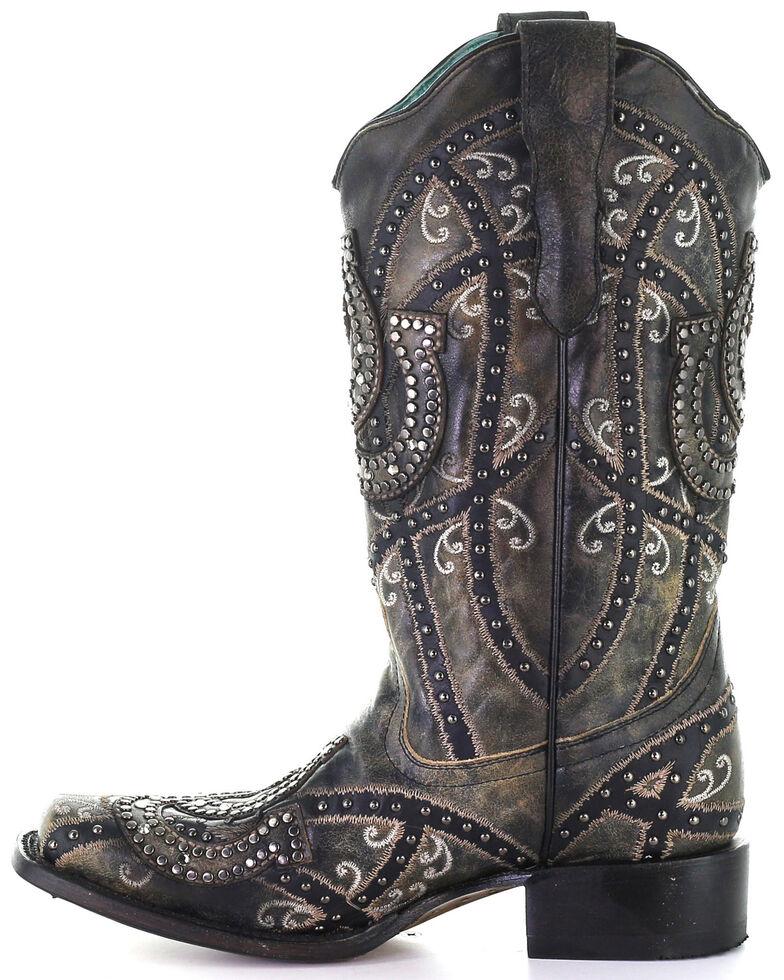 Corral Women's Black Horseshoe Overlay Western Boots - Square Toe, Black, hi-res