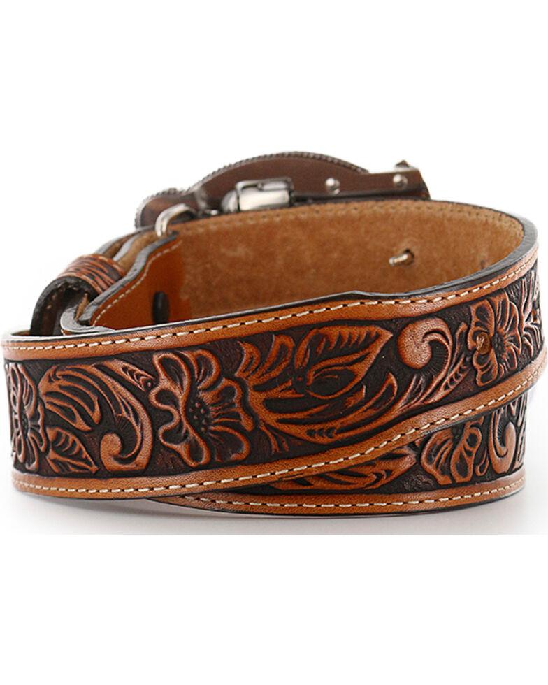 Justin Kids' Tooled Leather Belt, Brown, hi-res
