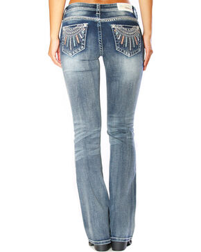 Grace in LA Women's Ray Embroidered Jeans - Boot Cut , Indigo, hi-res