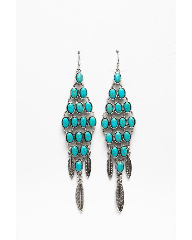 Shyanne Women's Blue Falls Turquoise Diamond Feather Fringe Earrings, Silver, hi-res