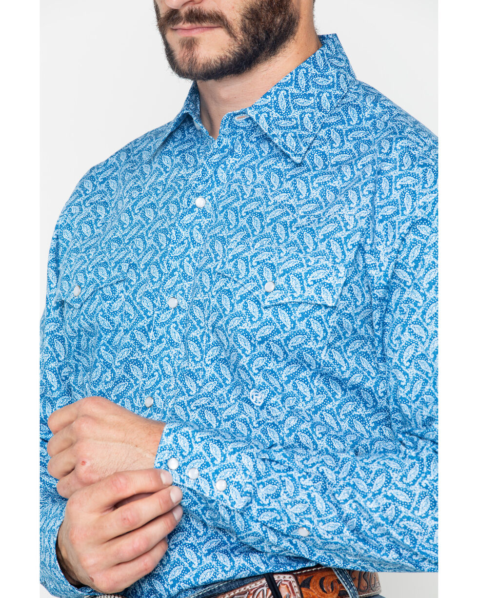 Roper Men's Paisley Print Snap Long Sleeve Western Shirt , Blue, hi-res