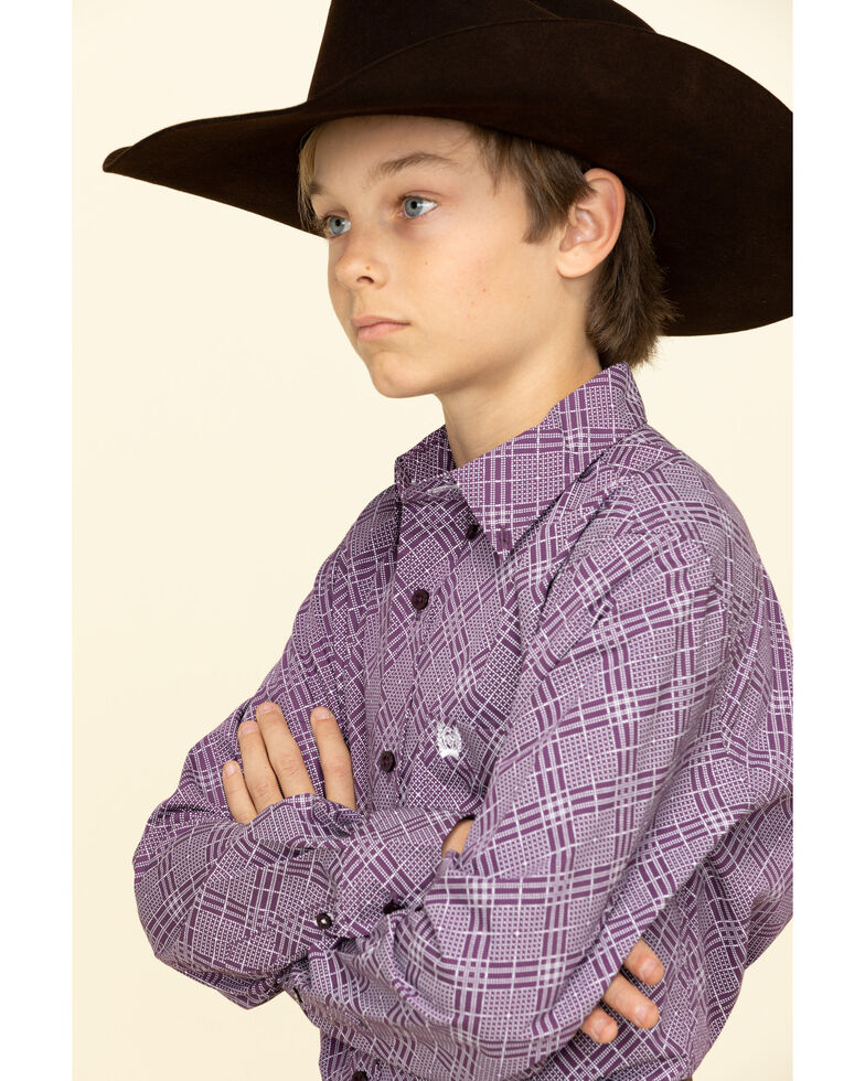 Cinch Boys' Purple Aztec Print Long Sleeve Western Shirt , Purple, hi-res