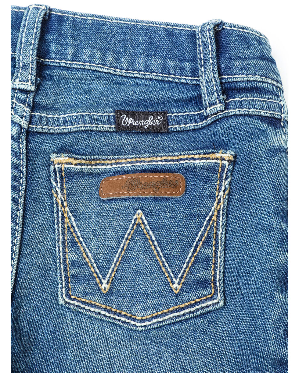 Wrangler Girls' Everyday Double Stitched Boot Jeans  , Medium Blue, hi-res