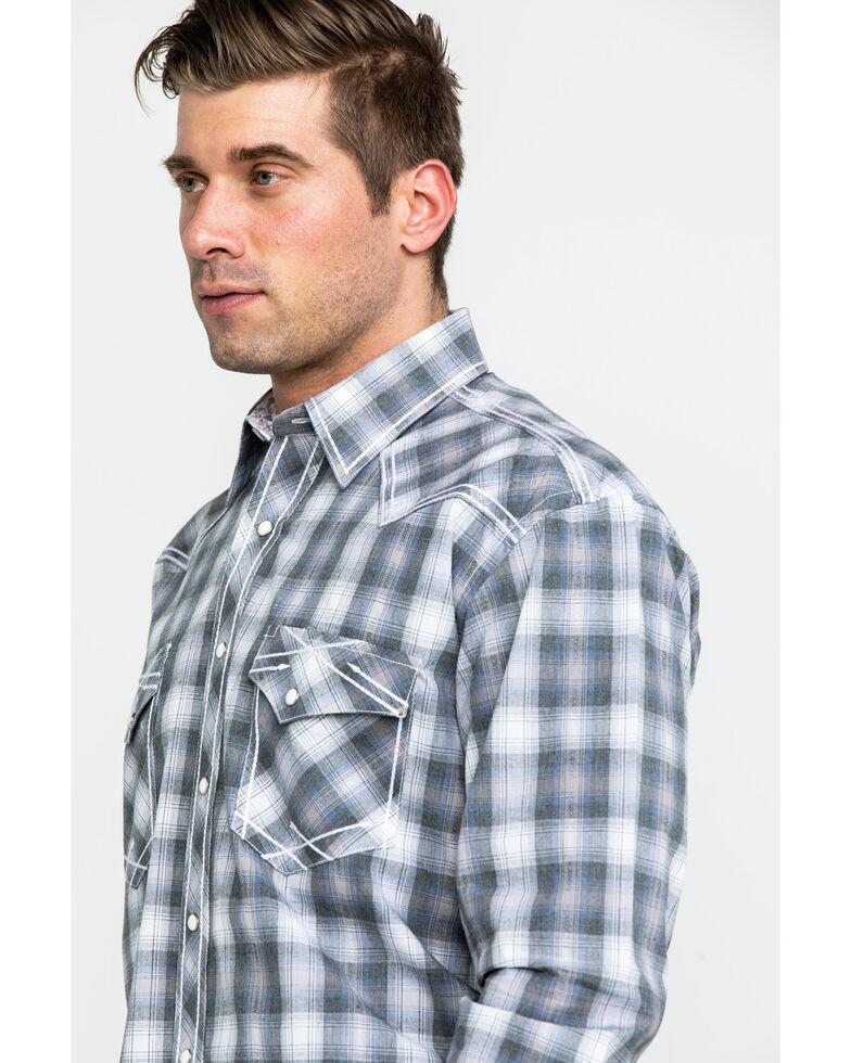 Rough Stock By Panhandle Men's Calistoga Ombre Plaid Long Sleeve Western Shirt , Grey, hi-res