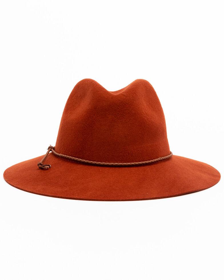 Shyanne Women's Rust Wool Felt Stiff Brim Fedora Hat , Rust Copper, hi-res