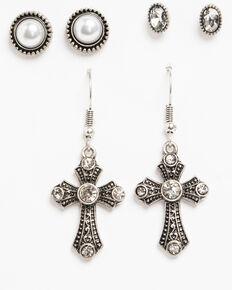 Shyanne Women's Crystal Cross Pearl 3 Pack Earring Set, Silver, hi-res