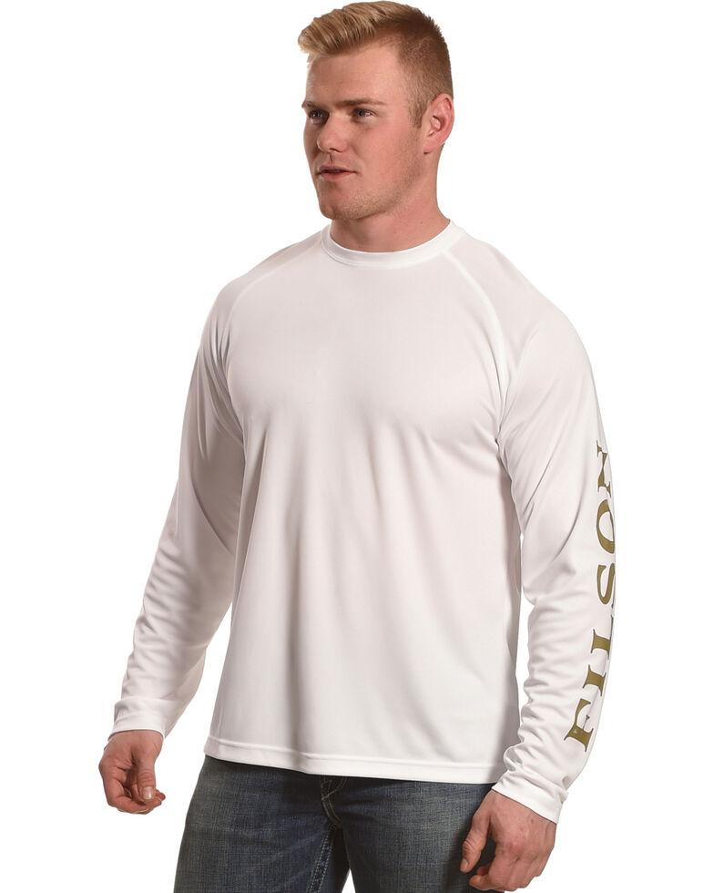 Filson Men's White Barrier Logo Long Sleeve Work T-Shirt, White, hi-res