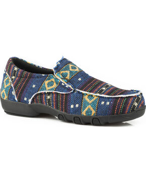 Roper Women's Johnnie Multicolor Black Aztec Driving Mocs - Moc Toe, Black, hi-res
