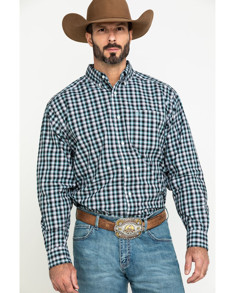 Ariat Men's Keene Multi Plaid Long Sleeve Western Shirt - Tall , Multi, hi-res