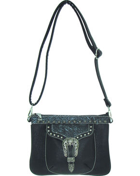 Savana Women's Faux Leather Distressed Crossbody Bag , Black, hi-res