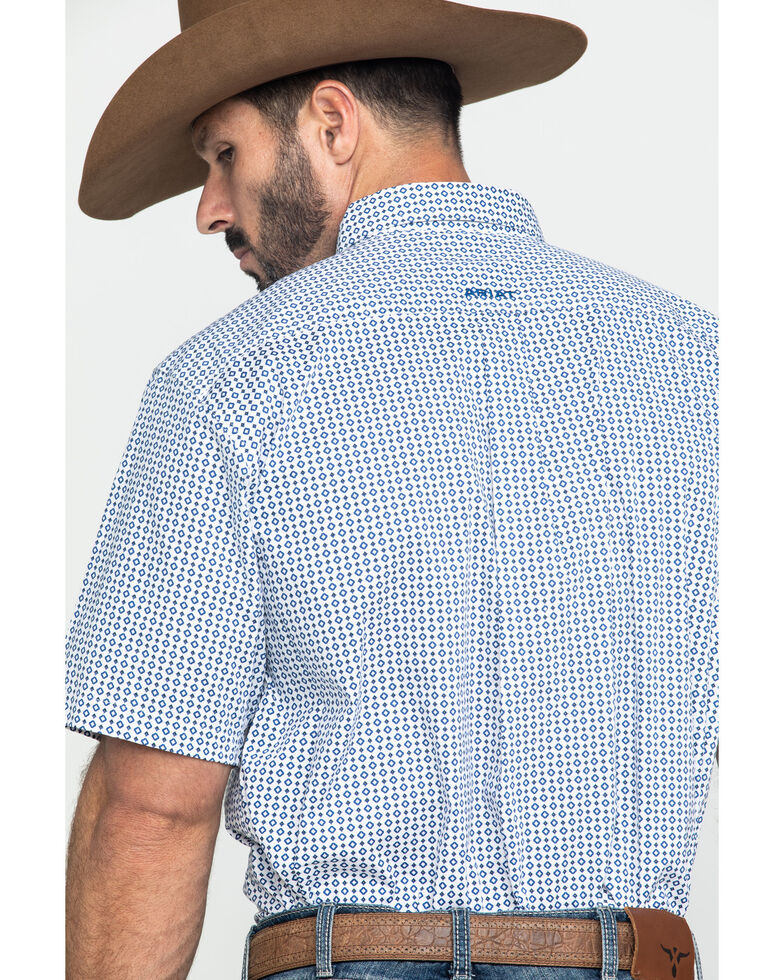 Ariat Men's Gibsonton Geo Print Short Sleeve Western Shirt -  Big , White, hi-res