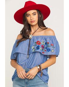 Five Star Women's Blue Floral Embroidered Off Shoulder Short Sleeve Top, Blue, hi-res