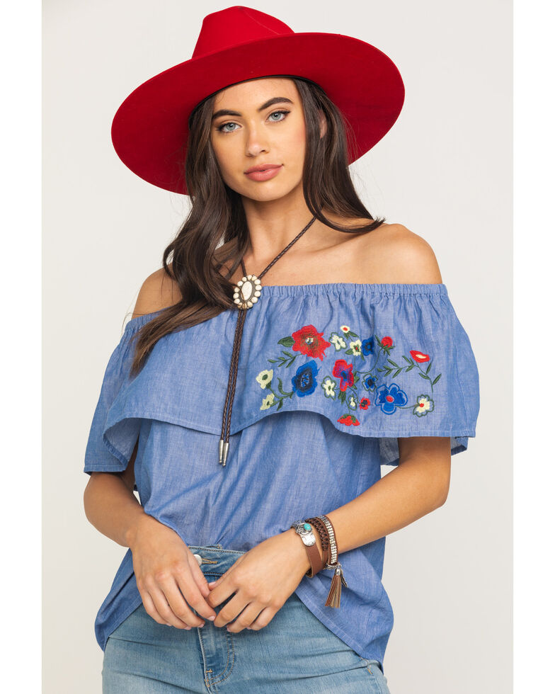 Five Star Women's Blue Floral Embroidered Off The Shoulder Top, Blue, hi-res