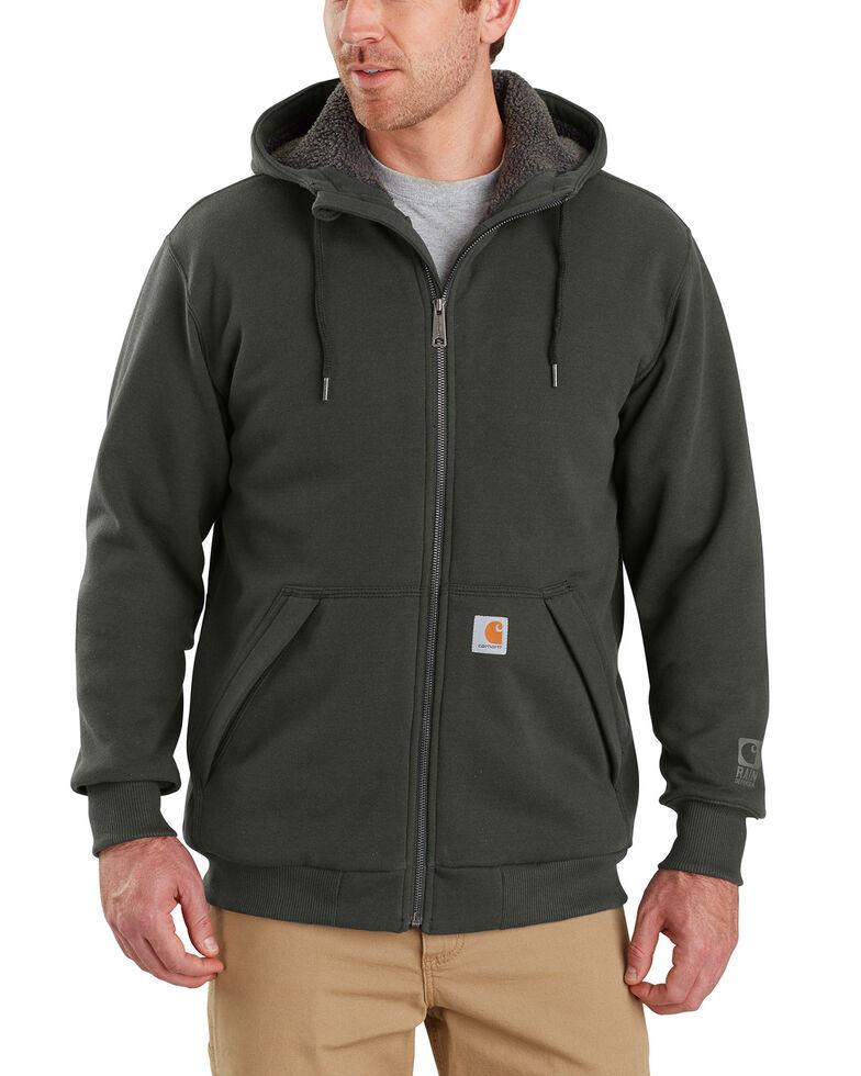 Carhartt Men's Rain Defender Rockland Sherpa-Lined Full-Zip Hoodie - Big & Tall, Bark, hi-res