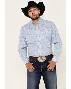 George Strait By Wrangler Men's White Diamond Geo Print Long Sleeve Snap Western Shirt - Big, White, hi-res