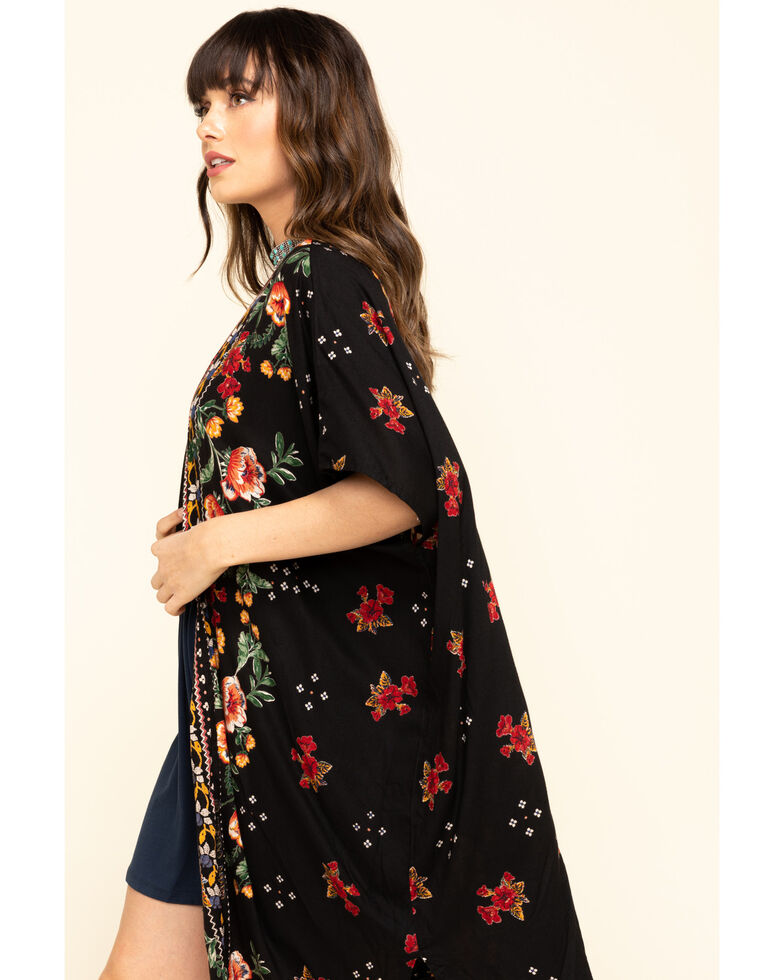 Angie Women's Black Rode Floral Border Print Challis Kimono, Black, hi-res