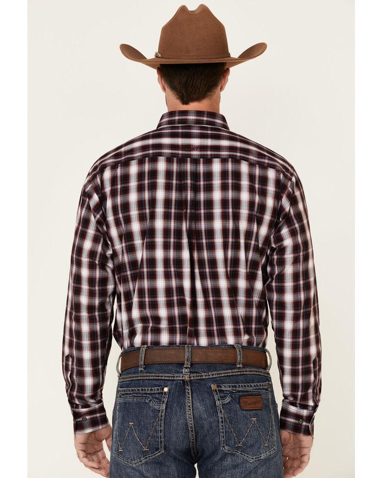 Ariat Men's Burgundy Ramon Plaid Long Sleeve Button Western Shirt , Burgundy, hi-res
